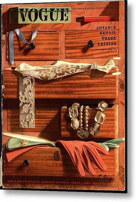Vogue Cover Illustration Of Drawers Open Metal Print