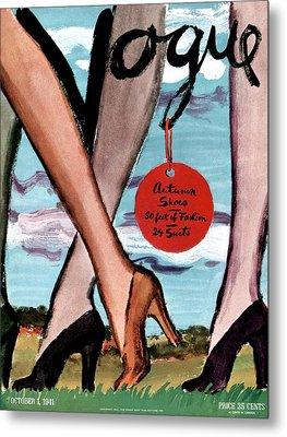 Vogue Cover Illustration Of Female Legs Wearing Metal Print