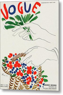 Vogue Cover Illustration Of Hands Holding Metal Print by Eduardo Garcia Benito