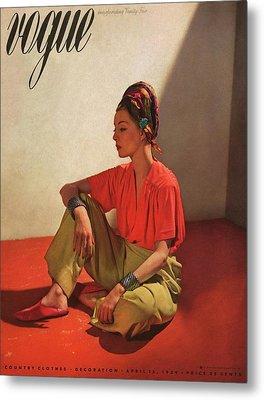 Vogue Cover Illustration Of Model Helen Bennett Metal Print by Horst P. Horst