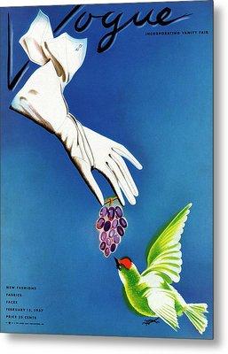 Vogue Cover Illustration Of White Gloves Metal Print