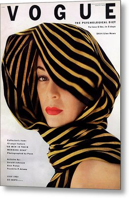Vogue Cover Of Jean Patchett Metal Print by Clifford Coffin