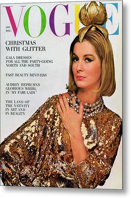 Vogue Cover Of Sandra Paul Metal Print by Bert Stern