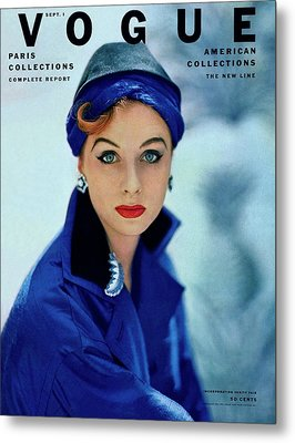Vogue Cover Of Suzy Parker Metal Print by Roger Prigent