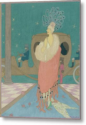 Vogue Illustration Of A Woman In A Pink Cape Metal Print