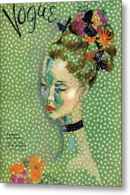 Vogue Magazine Cover Featuring A Woman Metal Print by Cecil Beaton