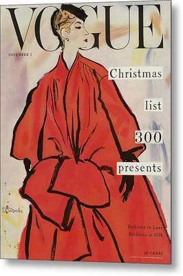 Vogue Magazine Cover Featuring A Woman In A Large Metal Print by Rene R. Bouche