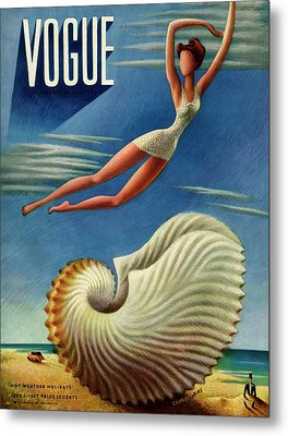 Vogue Magazine Cover Featuring A Woman Metal Print by Miguel Covarrubias