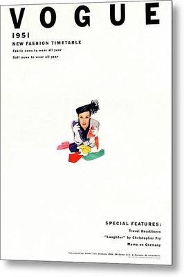 Vogue Magazine Cover Featuring Model Lillian Metal Print by Erwin Blumenfeld