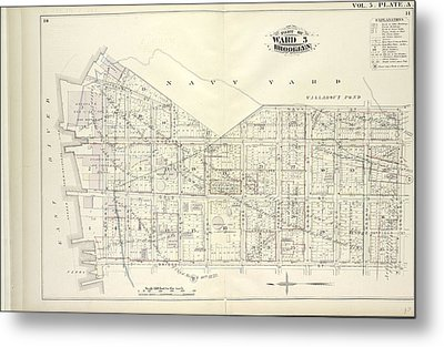 Vol. 5. Plate, A. Map Bound By U.s. Navy Yard, Concord St Metal Print by Litz Collection