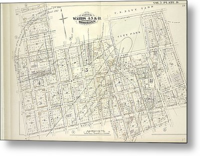 Vol. 5. Plate, D. Map Bound By Sands St., U.s. Navy Yard Metal Print by Litz Collection