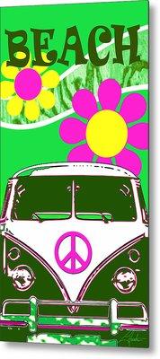Vw Beach  Green Metal Print