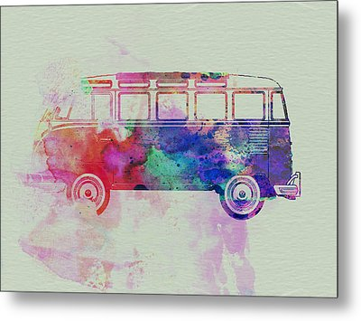 Vw Bus Watercolor Metal Print by Naxart Studio