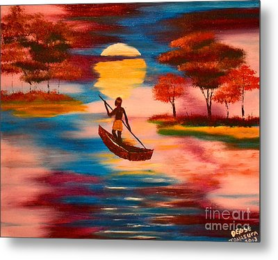 Wading For Magenta Metal Print by Denise Tomasura