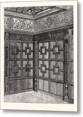 Wainscot And Pargetry, Carbrooke Hall, A Historic House Metal Print