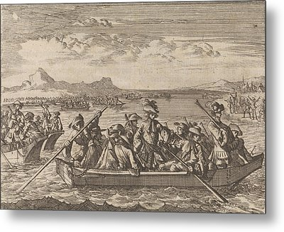 Waldensians Chased From Savoy Crossing The Lake Geneva Metal Print by Litz Collection