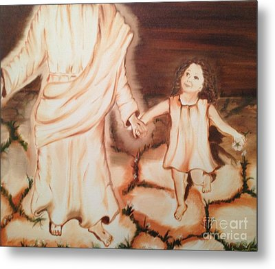 Metal Print featuring the painting Walk By Me by Brindha Naveen