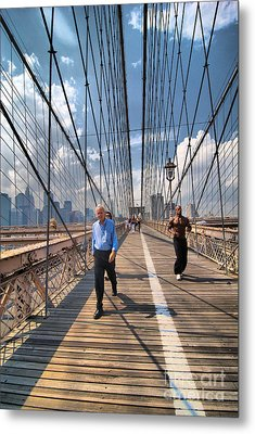 Walkers And Joggers On The Brooklyn Bridge Metal Print