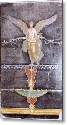 Wall  Fragment With Winged Female Nike On Black Ground Metal Print by Litz Collection