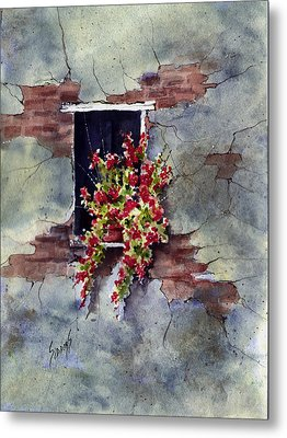 Wall With Red Flowers Metal Print by Sam Sidders