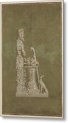 Wallpaper Panel Depicting Winter Metal Print by Jacquemart et B�nard