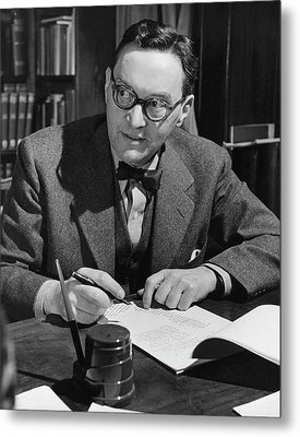 Walter Lippmann Writing At A Desk Metal Print