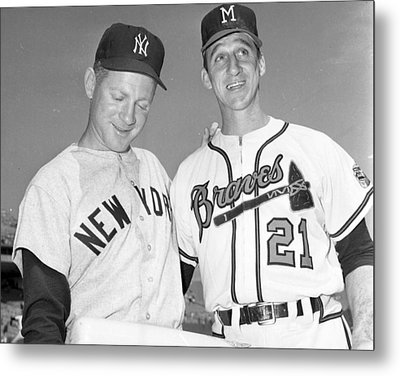 Warren Spahn With Whitey Ford Metal Print by Retro Images Archive