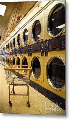 Washing Machines At Laundromat Metal Print by Amy Cicconi