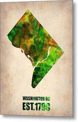 Washington Dc Watercolor Map Metal Print by Naxart Studio