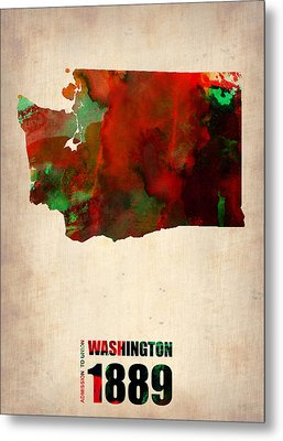 Washington Watercolor Map Metal Print by Naxart Studio