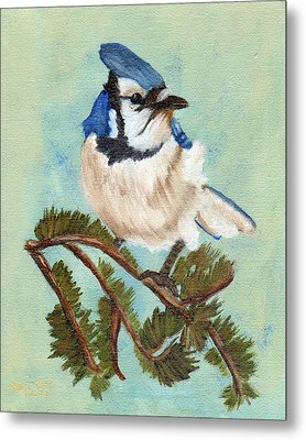 Watchful Blue Jay Metal Print by J Cheyenne Howell