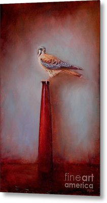 Watchtower - American Kestrel  Metal Print by Lori  McNee