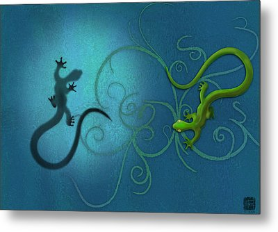 water colour print of twin geckos and swirls Duality Metal Print by Sassan Filsoof