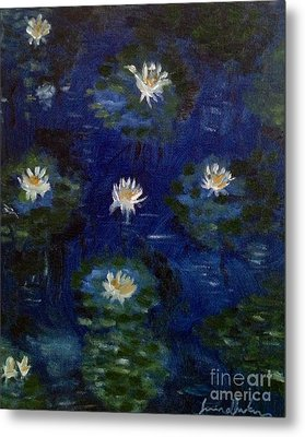 Metal Print featuring the painting Water Lilies by Brindha Naveen