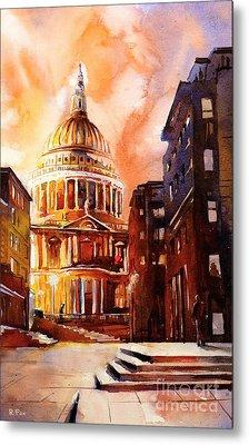 Watercolor Painting Of St Pauls Cathedral London England Metal Print by Ryan Fox