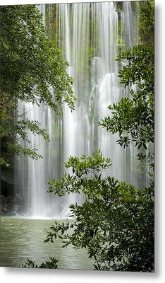 Waterfall Through Trees Metal Print by Juan Carlos Vindas