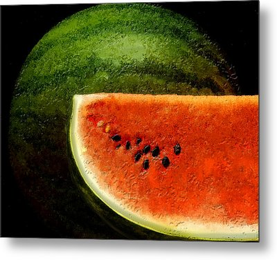 Metal Print featuring the digital art Watermelon by David Blank