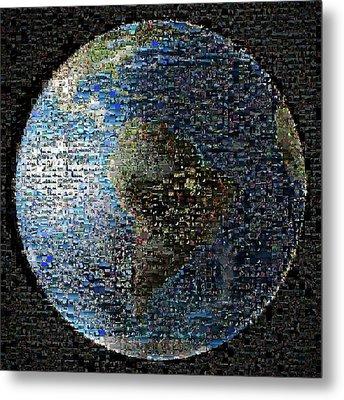 Wave At Earth Mosaic Metal Print by Nasa/jpl-caltech
