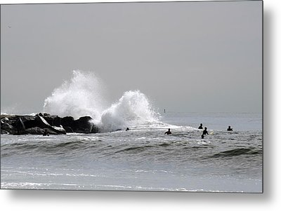 Waves Crash Against Beach 91st Jetty Metal Print