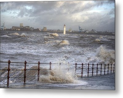 Waves On The Slipway Metal Print by Spikey Mouse Photography