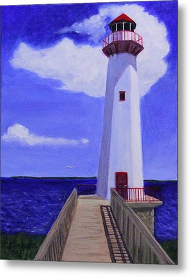 Metal Print featuring the painting Wawatam Lighthouse by Janet Greer Sammons