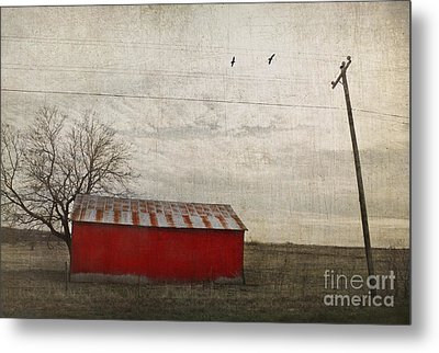 Weathered Red Barn Metal Print by Elena Nosyreva