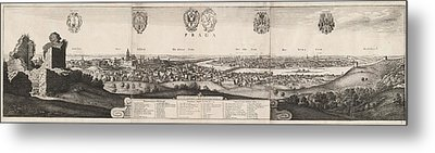 Wenceslaus Hollar, The Great View Of Prague Metal Print by Litz Collection