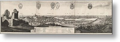 Wenceslaus Hollar, The Great View Of Prague Metal Print by Quint Lox