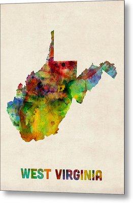 West Virginia Watercolor Map Metal Print by Michael Tompsett
