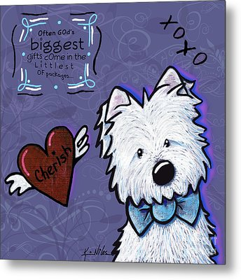 Westie Wall Metal Print by Kim Niles