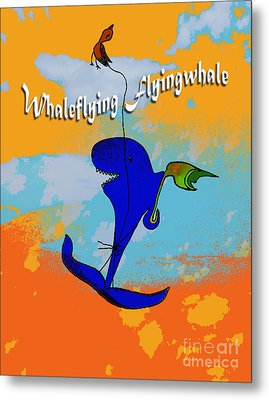 Whale Flying Flying Whale Metal Print