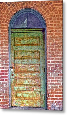 What's Behind The Green Door Metal Print by Larry Bishop