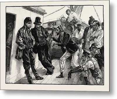 While He Addressed The Boatmen The Others Stood Doggedly Metal Print