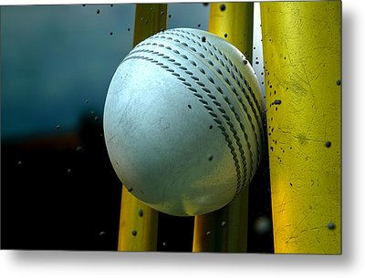 White Cricket Ball And Wickets Metal Print
